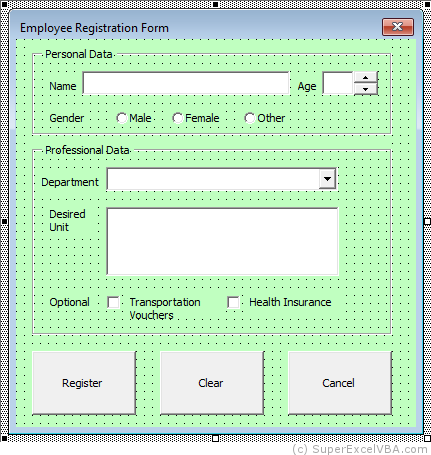 Creating and adjusting the layout of the Excel UserForm | VBA
